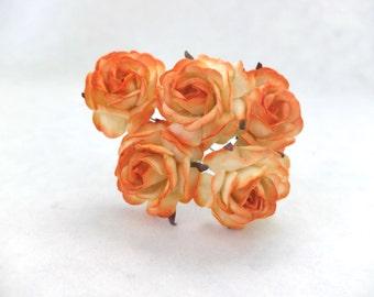 5 35mm 5 orange paper roses - orange paper flowers - embossed