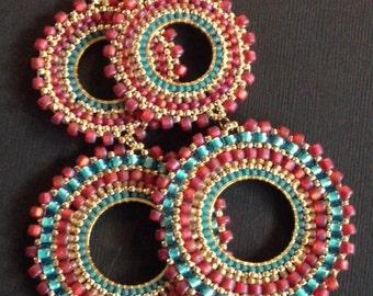 Beaded Double Hoop Earrings Aqua Berries II Bohemian Jewelry Large Long Earrings