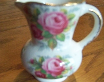 Vintage  James Kent Ltd. Longton pink roses miniature pitcher 1960's-good condition