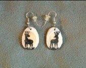 Antler Earrings Natural Deer-hand painted!
