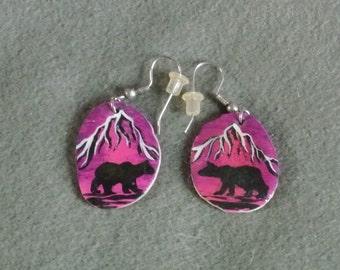 Antler Earrings Bear Dusk-hand painted