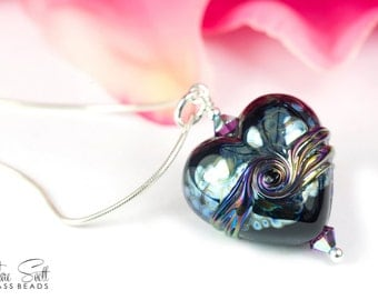 Romance - Pendant - Lampwork Glass Heart Bead and Swarovski Crystal on a Sterling Silver Snake Chain - by Clare Scott SRA Purple Lustre