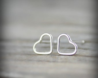 Tiny open heart earrings - sterling silver earrings