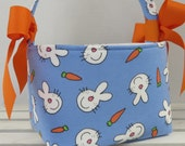Easter Fabric Candy Basket Bin Bucket Egg Hunt Storage Container - Fun Bunny Heads on Blue - PERSONALIZED/ Name Tag Available