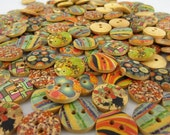25/50/100 ADORABLE wood buttons MIXED Floral and Geometric designs 5/8""