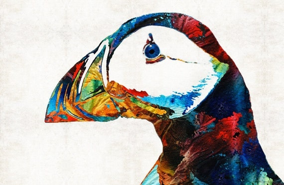 Colorful Puffin Bird Art Print From Painting Northern Birds