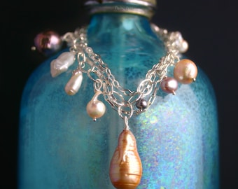 Boho Silver Charm Bracelet with Rare Saltwater and Freshwater Pearls