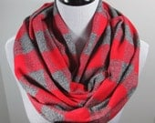 Red n Gray buffalo Plaid Tartan brushed cotton flannel infinity circle scarf- women autumn fall winter cowl neck shawl fashion gifts