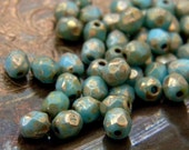 Vintage Sky (50) -Czech Glass Faceted Rounds 4mm