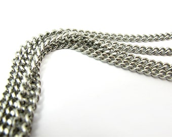 Vintage Rhodium Plated on Steel Curb Chain (6 feet) (C678)
