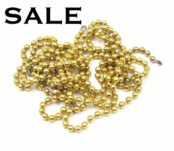Brass Ball Chain Bracelet Findings (12X) (6.5 inches) (C516) SALE - 50% off