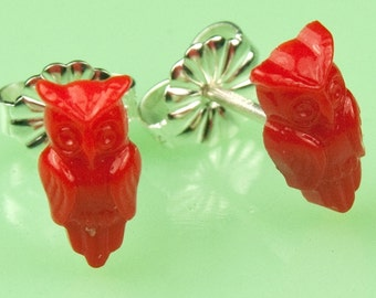Vintage Tiny Red Glass Owl Post Earrings