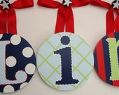 5 Custom Round Baby Kids Nursery Hanging Wall Letters reserved for teacher tiff