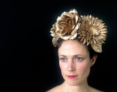 Gold Flower Crown - Gold Wedding Crown - Gold Floral Headband - Gold Tiara - Bridal Headpiece - Gold Floral Crown - Fascinator