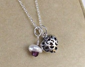 Amethyst Keshi Pearl Necklace, Sterling Silver Moon & Stars Charm Necklace... February Birthday Gift for Her