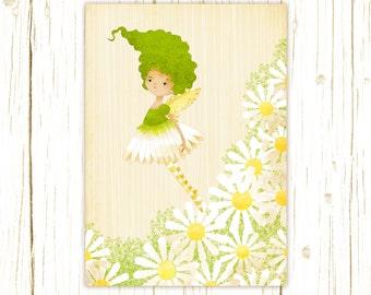 Children's Fairy Wall Art - Daisy Garden Fairy Art Print - Nursery art prints, baby nursery,  nursery wall art, kids art