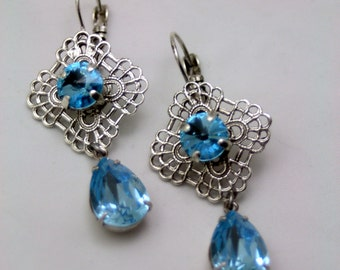 Frozen Summer Aquamarine Swarovski Elements Tennis Earrings Rhinestone Crystal Original Bridal Jewlery