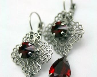 A Single Drop Siam Red Swarovski Elements Tennis Earrings Rhinestone Crystal Original Bridal Jewlery