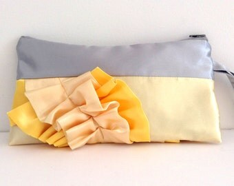Silver and Yellow Satin Curve Ruffled Clutch