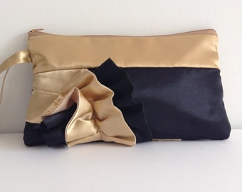 Black and Gold Satin Curve Ruffled Clutch