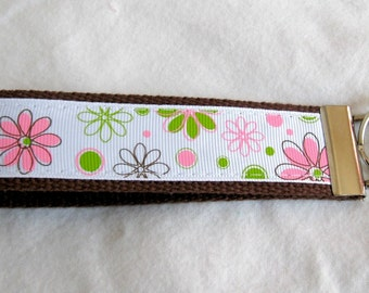Floral Key Fob - Flowers Keychain - Floral Large Key Fob BROWN - Spring Key Chain