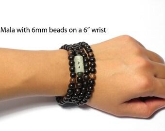 Tiger Ebony 108 Bead Mala : Small Wood Beads Stretchy Japa Mala / Mala Necklace or Wrapping Bracelet / Yoga Bracelet / Custom Made Mala