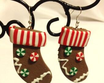 Secret Santa Gift Gingerbread Cookie Earrings Gingerbread Baking  Gingerbread Stocking Earrings