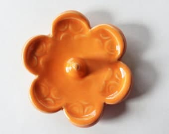 Ready to Mail, One Gift Size Clay Ring Dish - Glazed in Bright Orange