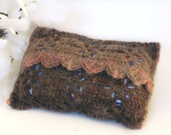 Mohair Travel Tissue Holder, Brown Crochet Purse Size Tissue Pouch, Travel Tissue Cover