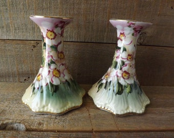 Limoges Candlesticks, Limoges China, Flowered Candle Holders, Pair Candlesticks, Taper Candles, Shabby Table