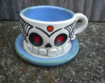 Hand-thrown ceramic Sugar Skull Espresso Cup