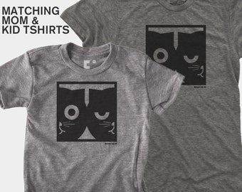 SALE! Father Son Matching TShirt, Dad and Baby Matching Shirt, Dad Daughter Matching, Cat Gift, Father Child, Dueling Cat