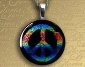 Fused Dichroic Glass Pendant, Dichroic Pendant, Omega Slide Pendant - Multi-Colored Peace Sign - LB155
