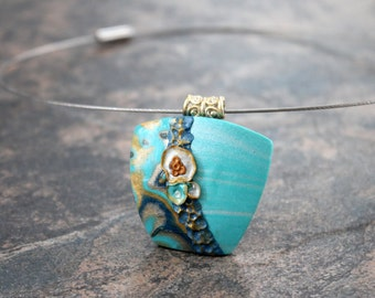 Polymer clay art pendant. Necklace. Teal Pendant and neck wire. Trapezoid shaped. Cyan. Tiffany blue. Unique item. OOAK.