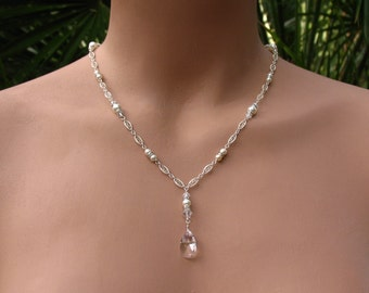 Bridal Lariat Necklace with Swarovski Pearls, Rondelles, Crystals and Teardrops with Backdrops on Sterling Silver Filigree Chain - Wedding