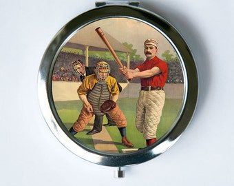 Baseball Batter Compact Mirror Pocket Mirror sports