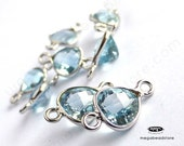 4 pcs 6mm Tiny Blue Topaz Triangle Connector Sterling SIlver Bezel Gemstone F526S-