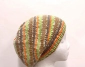 Knit beanie beret hat, colorful, handmade  4754