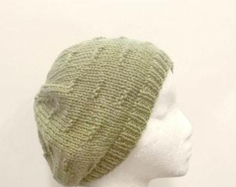 Green knitted beanie hat, beanie beret cap    4749