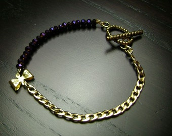Purple and Gold Crystal and Itty Bitty Bow Bracelet
