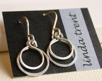 Petite Double Hoop Earrings. Dangle Earring. Drop Earring. Artisan. Jewelry.