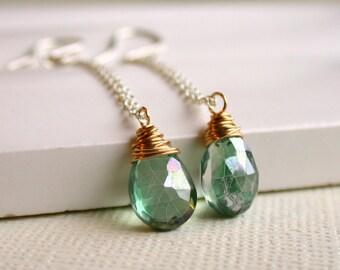 Mystic Green Quartz Drop Earrings. Wire Wrapped Gemstone Earrings. Mixed Metal Earrings.