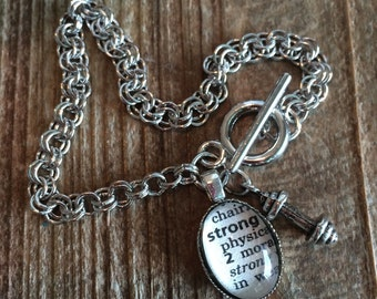Inspirational Bracelet, Strong dictionary word and barbell weight charm bracelet, weights charm, crossfit jewelry, gift for workout partner