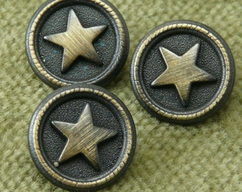 Squadron Buttons Antique Brass Circle and Star  92084 C6