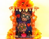 Sugar Skull Dia De Los Muertos Nicho-Day of the Dead Decoration-Assemblage-Collage