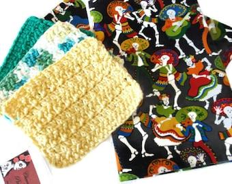 Mariachi Tea Towel Gift Set Housewarming Gift Dia de Los Muertos Kitchen Towels Crochet Dish Clothes