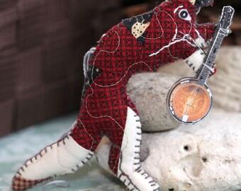 Red Leaping Calico Fox Banjo Pickin' Quilty Critter - GreyFox Bluegrass Novelty, OOAK, Folk Art