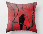 Crow Art, Red And Black, Toss Pillow Case, Nature Image, Raven, Blackbird In Tree,  Blackbird - Red Vision Pillow Cover