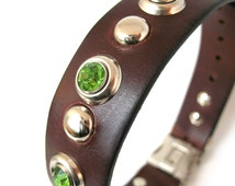 Chocolate Brown Leather Dog Collar with Mint Green Gems, Silver Dots and Quick Release Buckle // Size M-L to fit a 17-20in Neck // OOAK