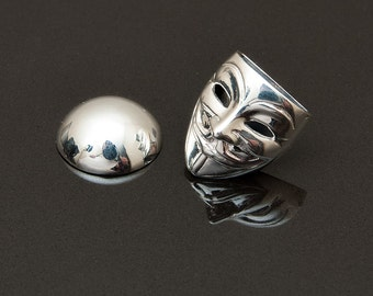 Guy Fawkes Lapel Pin, Sterling Silver,  handcrafted